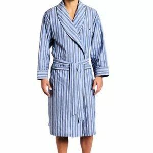 *Nautica Anchor Woven Cotton Robe Blue Striped